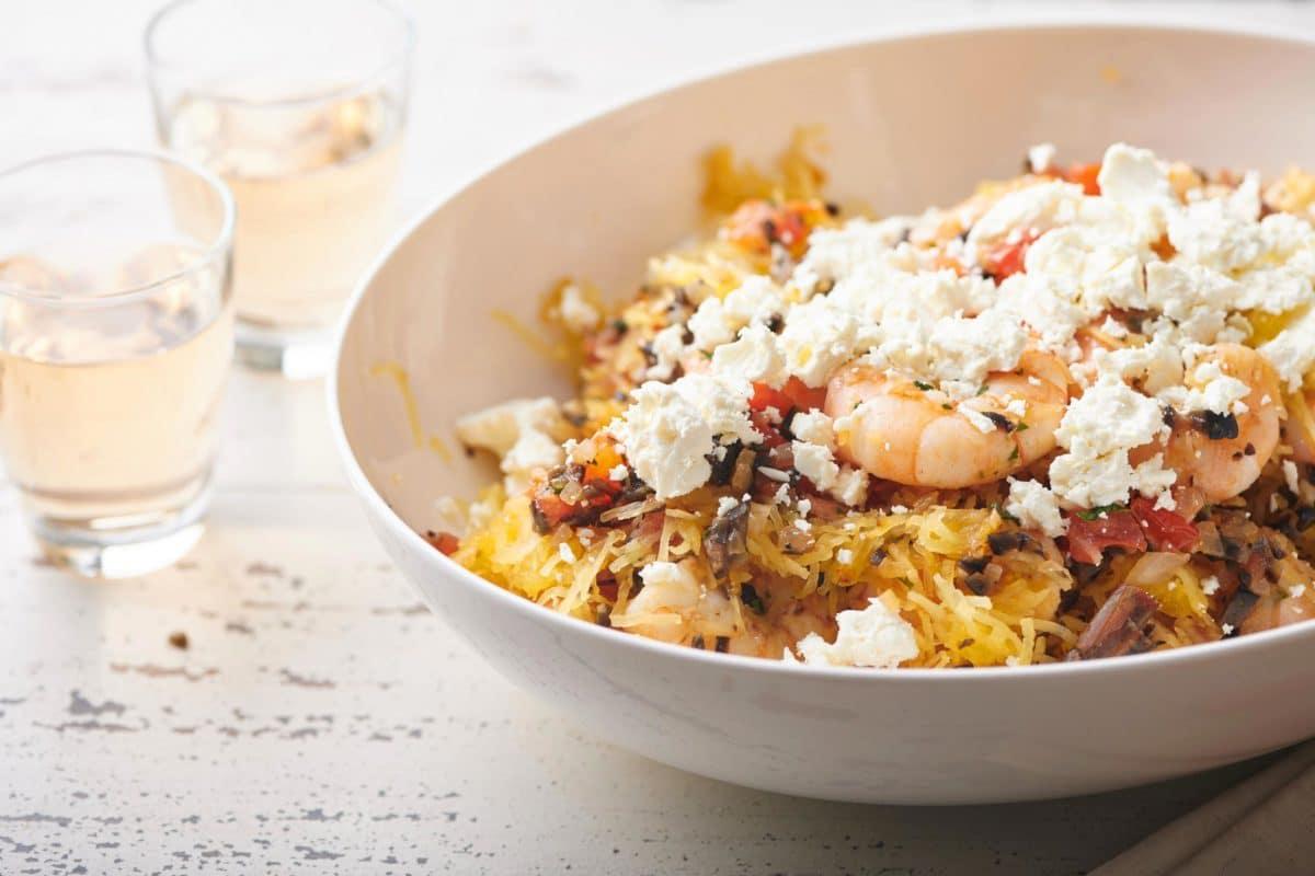 Greek Style Spaghetti Squash With Shrimp Recipe The Mom 100