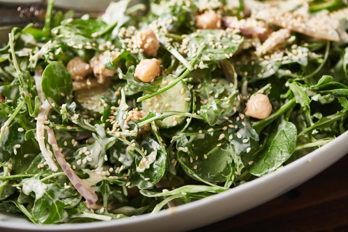Green Salad with Chickpeas and Spicy Honey Tahini Dressing