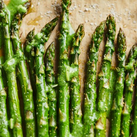 Roasted Asparagus with Pesto Crème Fraiche