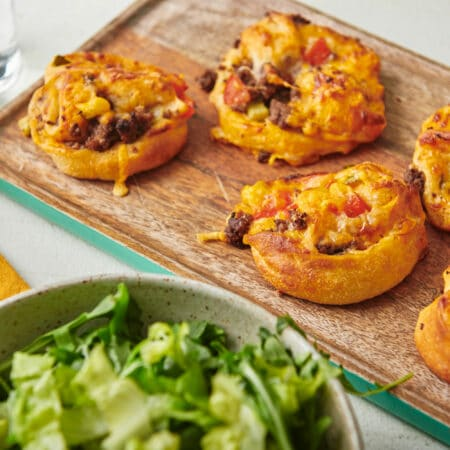 Cheeseburger Pizza Pinwheels