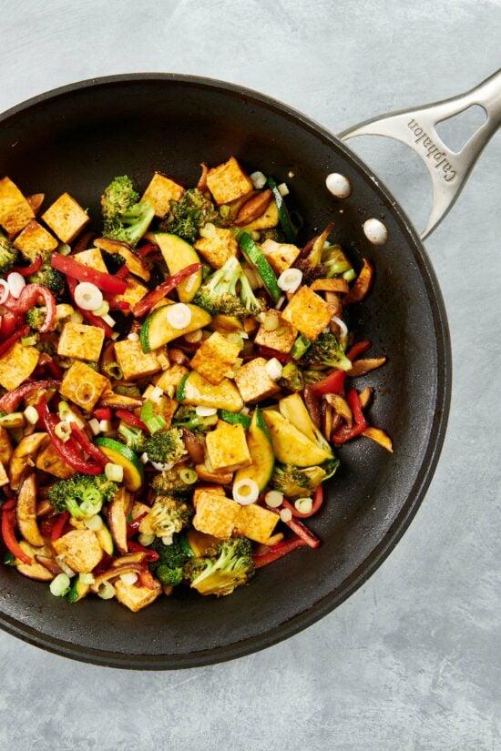 Simple Stir Fried Crispy Tofu and Vegetables