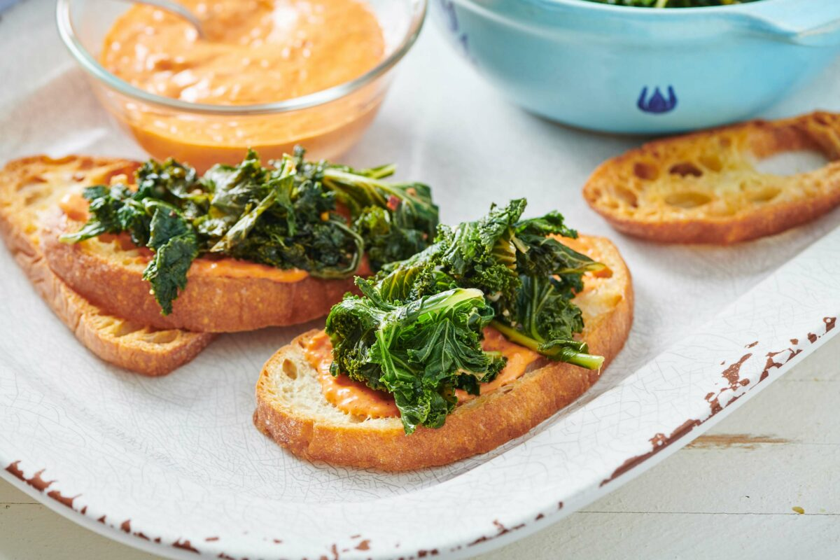 Kale and Roasted Pepper Bruschetta