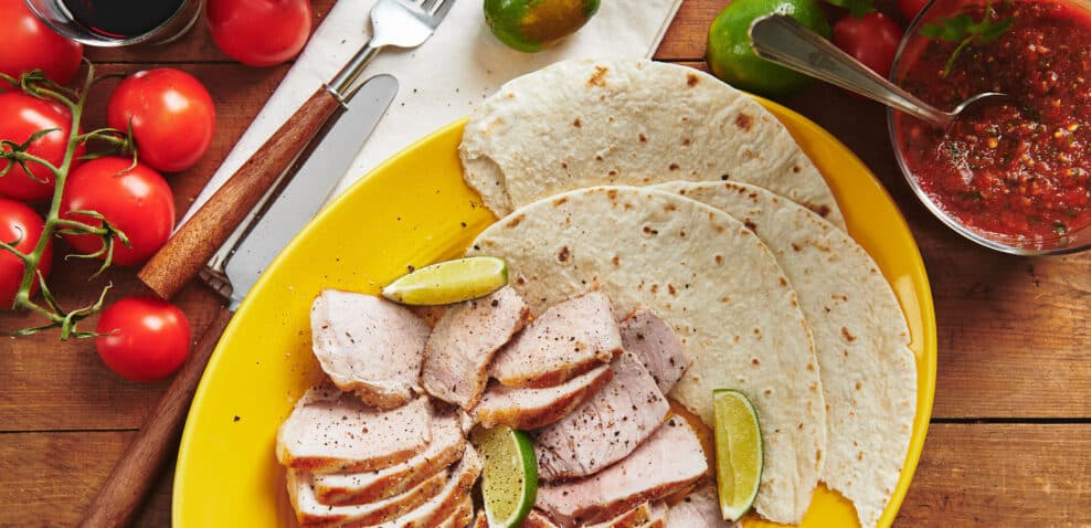 Grilled Pork Tacos with Salsa Ranchera