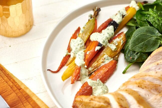 Roasted Carrots with Creamy Cilantro Sauce