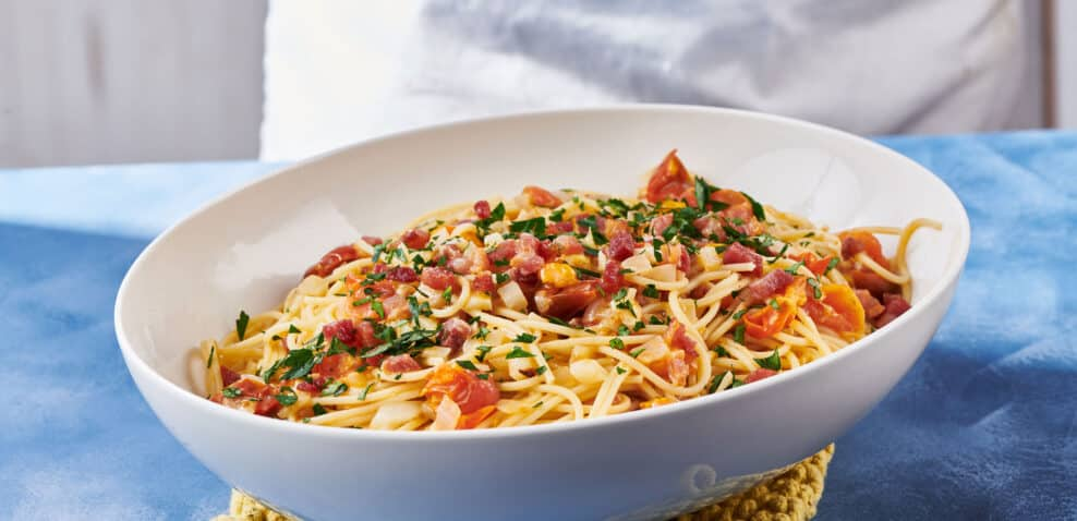 Pancetta Pasta with Tomatoes
